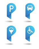 Parking concept as map pin set