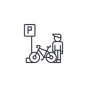 Parking for bicycles linear icon concept. Parking for bicycles line vector sign, symbol, illustration.
