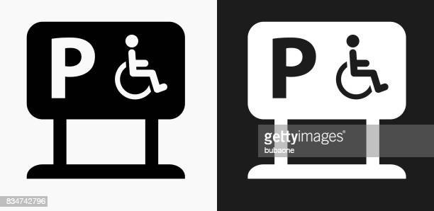 parking for people with disabilities icon on black and white vector backgrounds - disabled access stock illustrations, clip art, cartoons, & icons