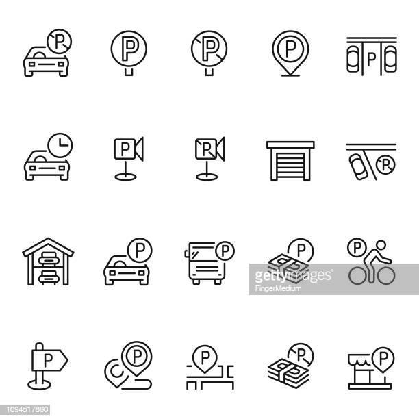 parking icon set - parking stock illustrations, clip art, cartoons, & icons