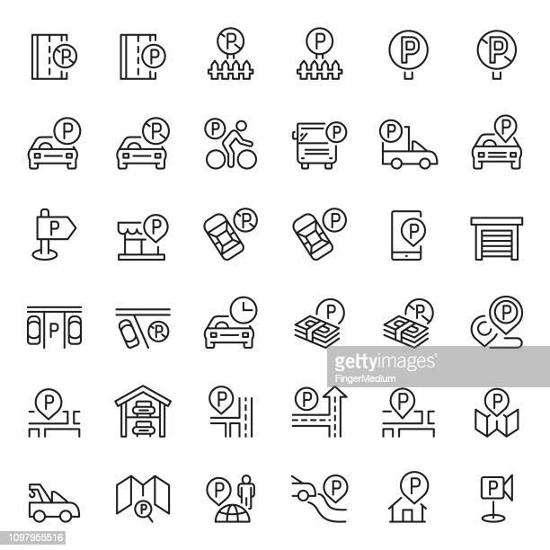 parking icon set - parking sign stock illustrations
