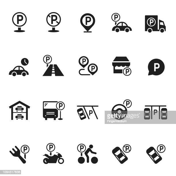 parking icon vector set - parking sign stock illustrations