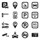 Parking Icons. Black Flat Design. Vector Illustration.
