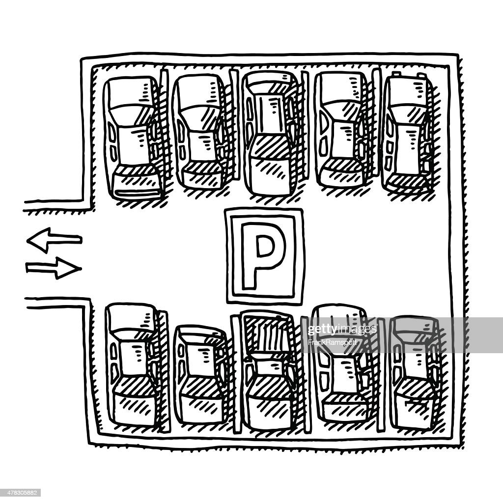 Parking Lot Full Of Cars View From Above Drawing Vector