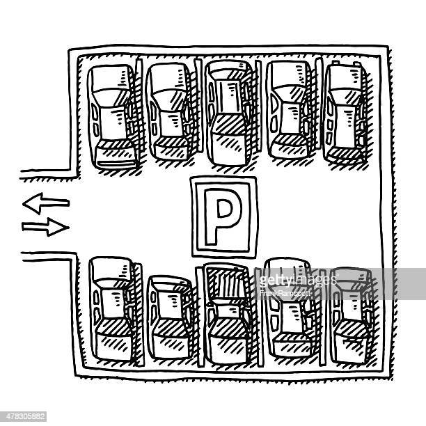 Parking Lot Full Of Cars View From Above Drawing