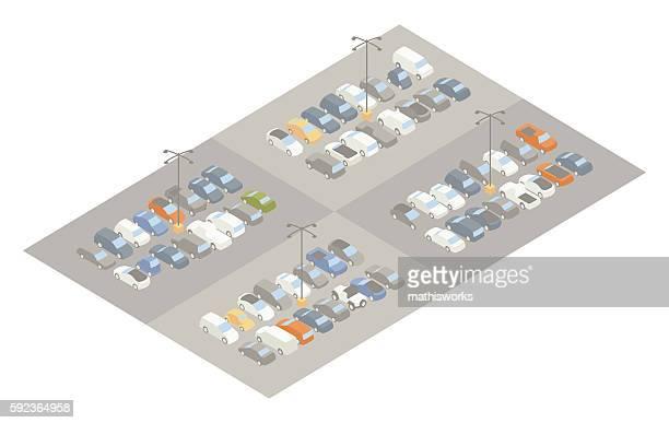 Parking lot isometric illustration