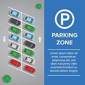 Parking lot, parking sign illustration. Car and transportation, auto park.