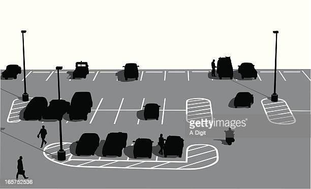 Parking Lot People Vector Silhouette