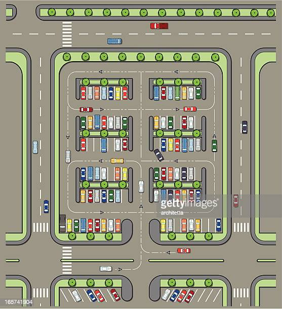 parking lot plan full of cars - zebra crossing stock illustrations
