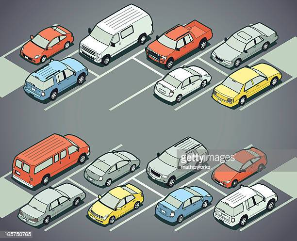 parking lot - mathisworks vehicles stock illustrations