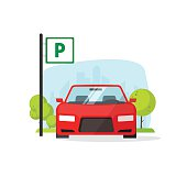Parking lot with sign vector illustration isolated on white