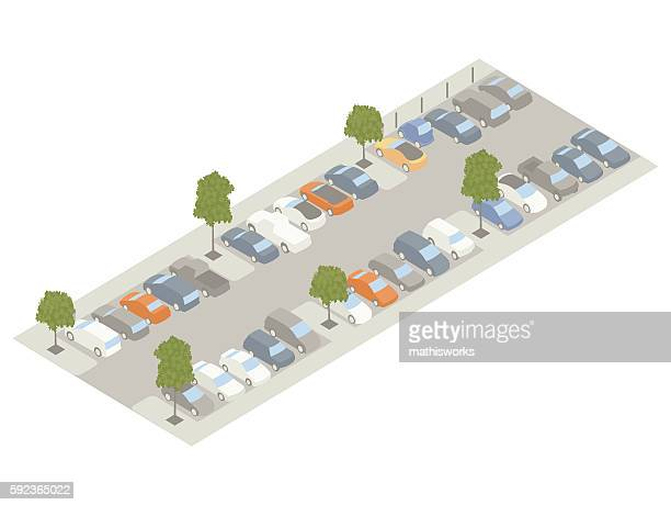 parking lot with trees isometric illustration - mathisworks vehicles stock illustrations
