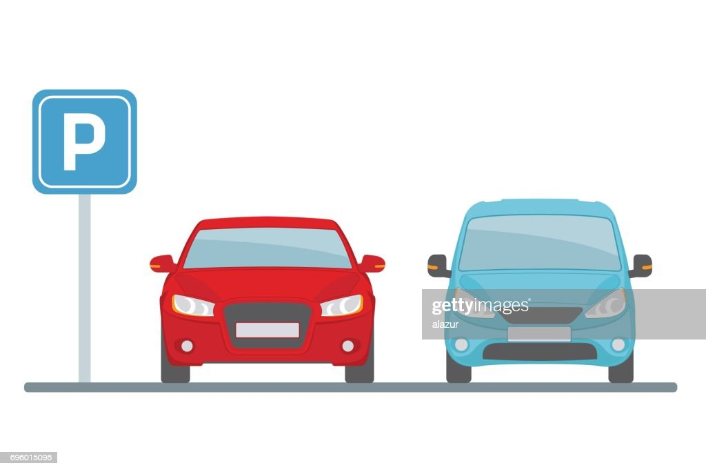 Parking lot with two cars on white background.