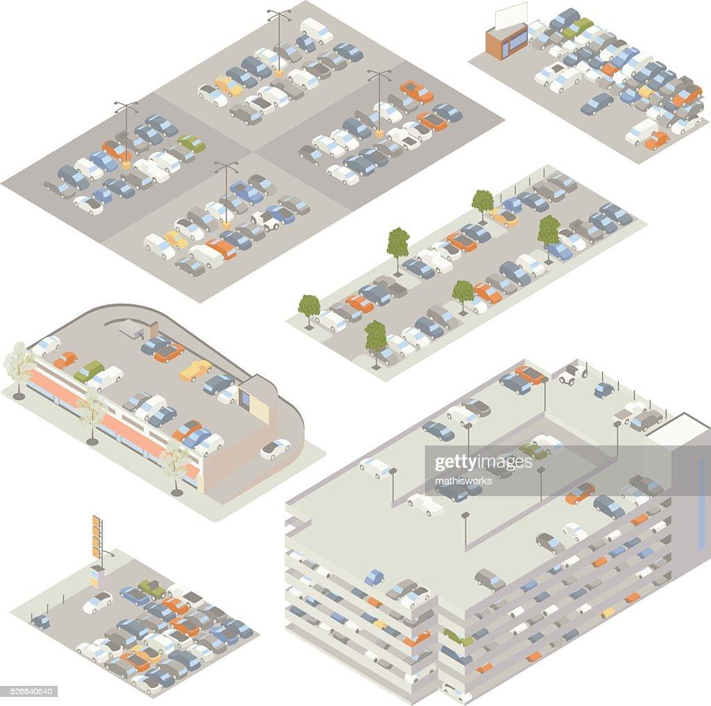Parking Lots Illustration : Vector Art