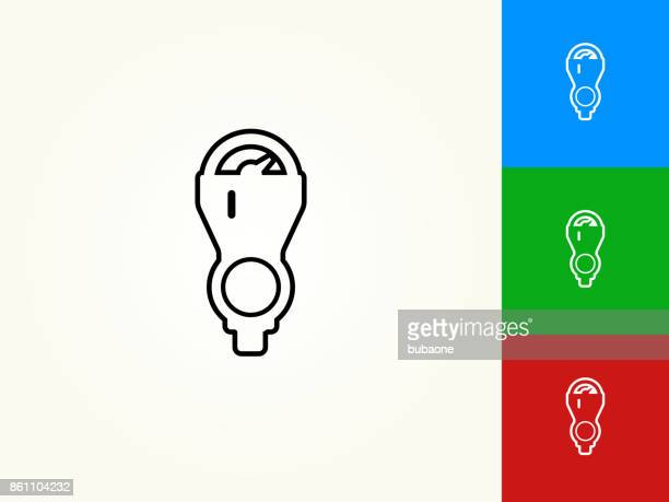 parking meter black stroke linear icon - parking meter stock illustrations