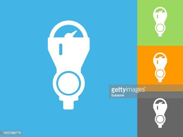 parking meter flat icon on blue background - parking meter stock illustrations