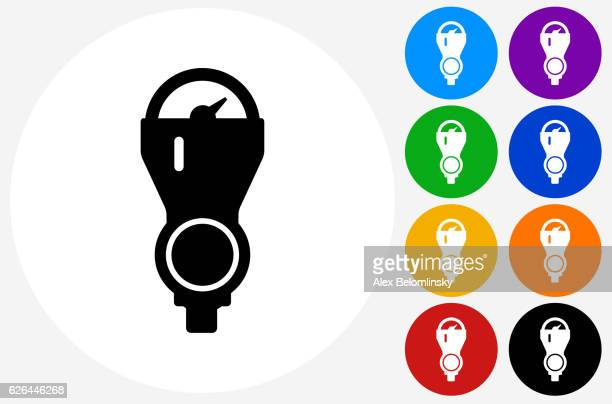 parking meter icon on flat color circle buttons - parking meter stock illustrations