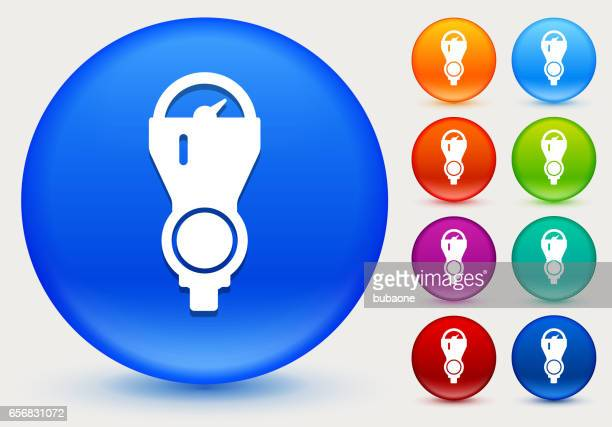 parking meter icon on shiny color circle buttons - parking meter stock illustrations