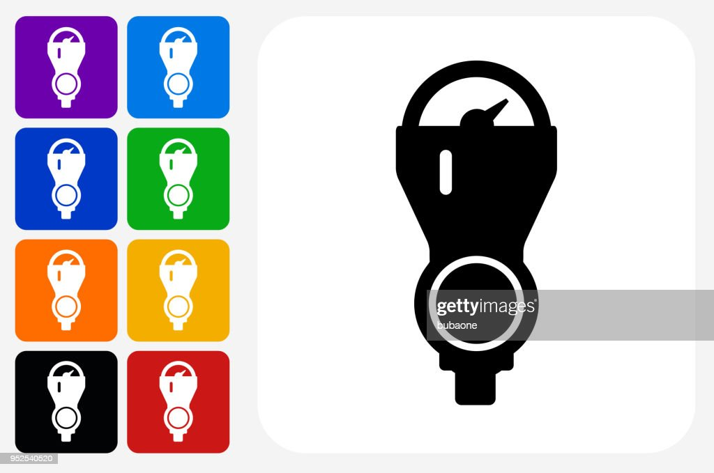 Parking Meter Icon Square Button Set Vector Art Getty Images