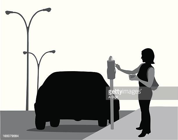 parking meter vector silhouette - parking meter stock illustrations
