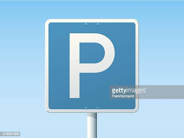 parking place german road sign - parking stock illustrations, clip art, cartoons, & icons