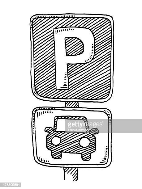 parking sign for cars drawing - parking sign stock illustrations
