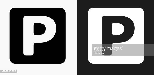 parking sign icon on black and white vector backgrounds - parking stock illustrations, clip art, cartoons, & icons