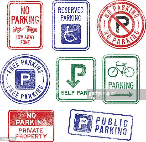 parking signs rubber stamps - private property stock illustrations