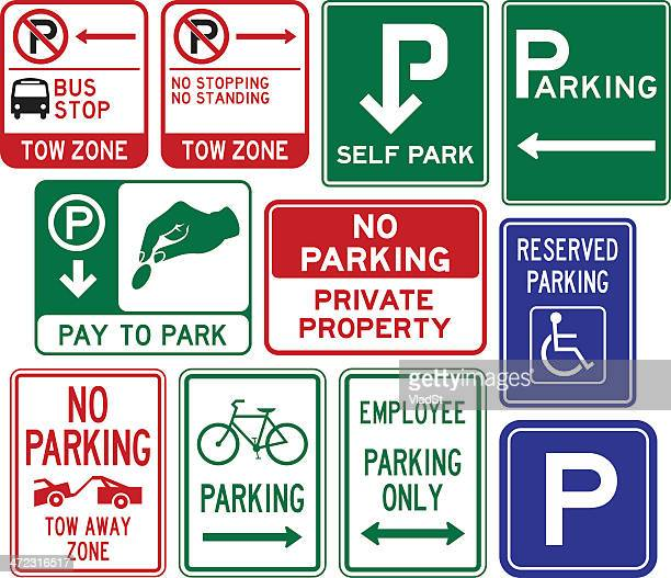 parking signs - parking sign stock illustrations