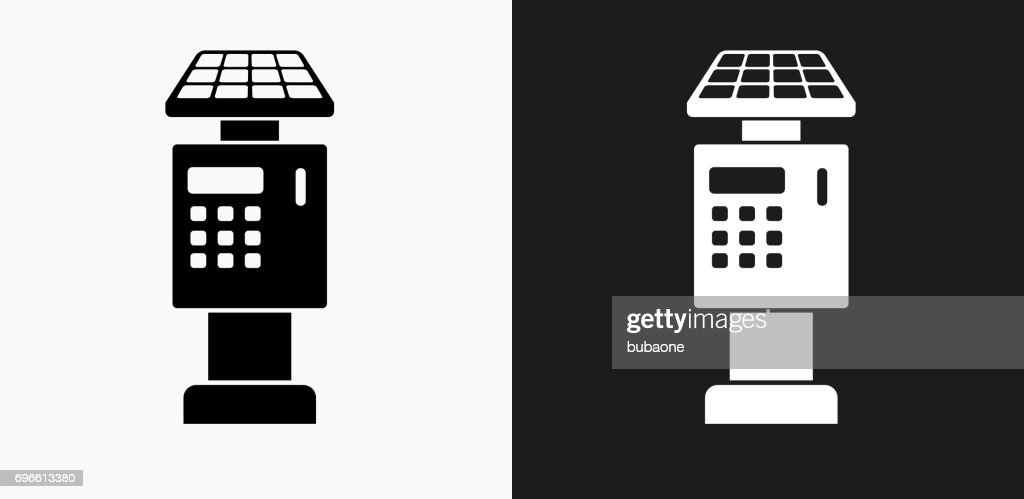 Parking Ticket Payment Machine Icon on Black and White Vector Backgrounds