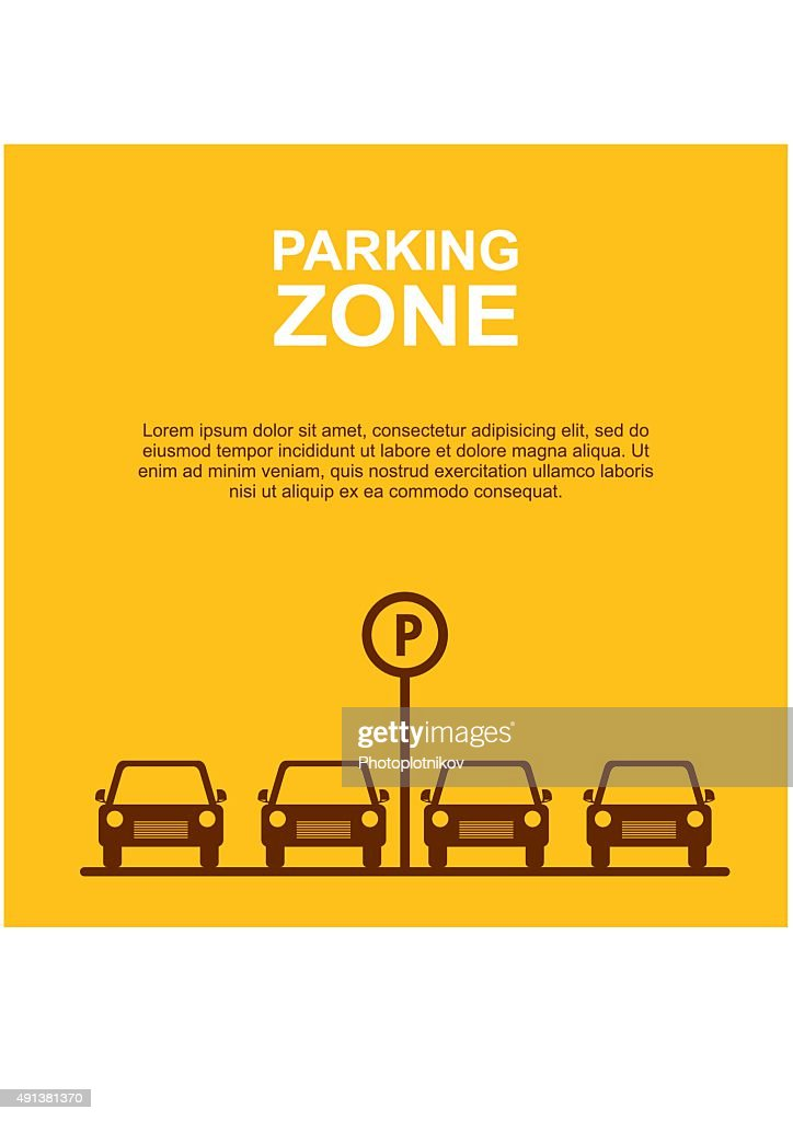 Parking Zone yellow background. Vector