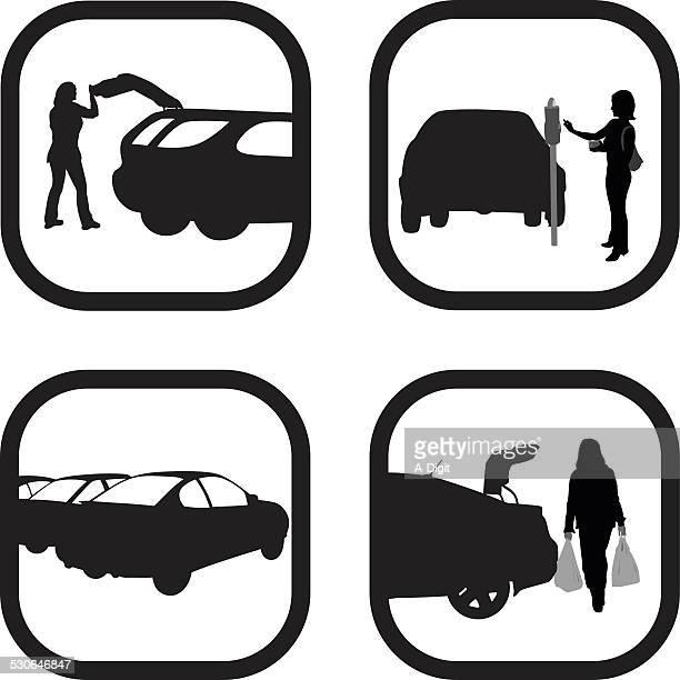 parkingspot - hatchback stock illustrations, clip art, cartoons, & icons