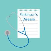 Parkinson's disease written in notebook