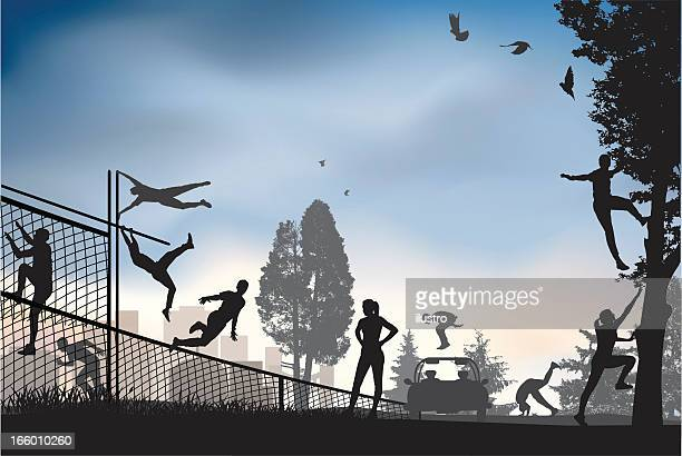 parkour sity - long jump stock illustrations