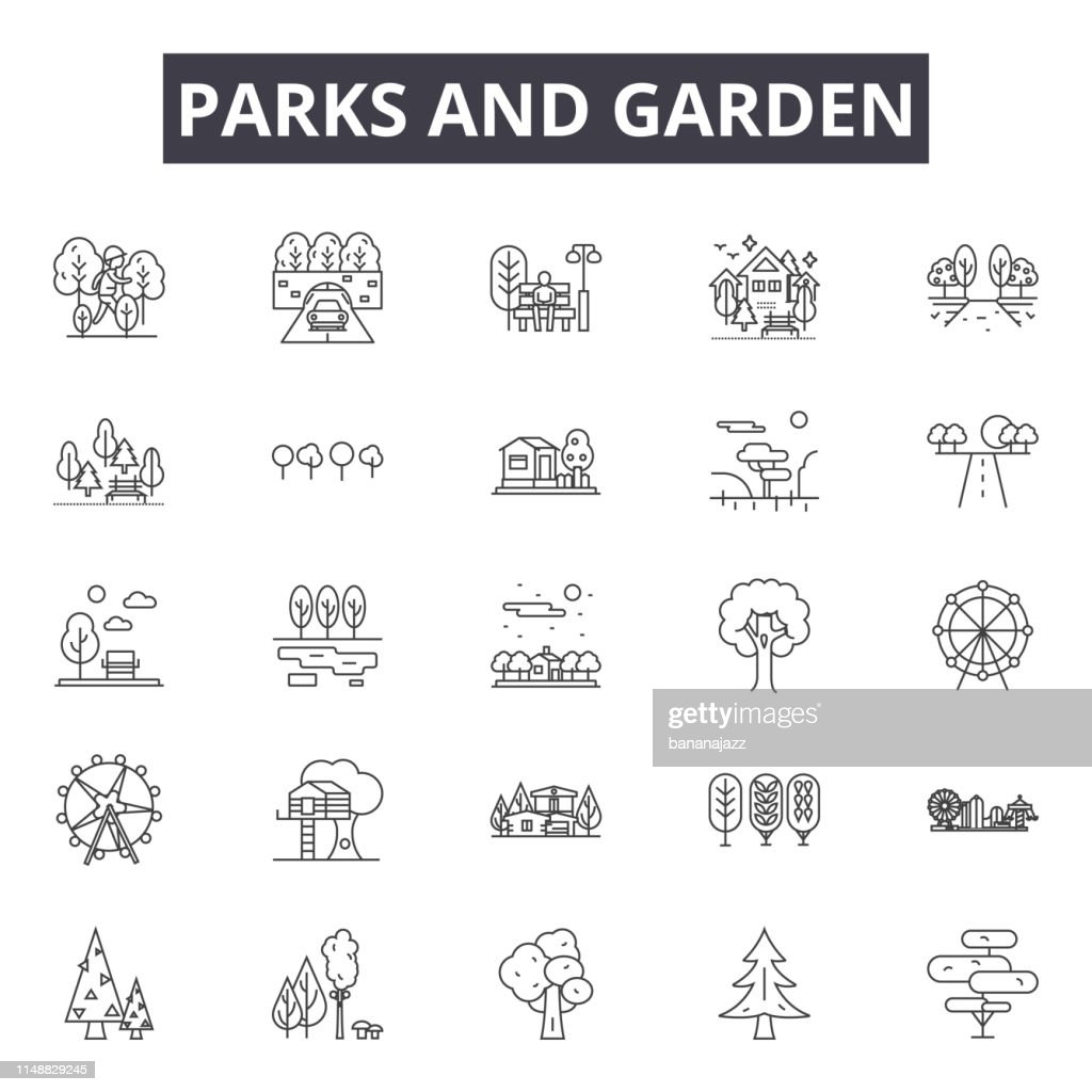 Parks and garden line icons, signs, vector set, linear concept, outline illustration