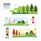 parks and outdoor activityTemplate Design Infographic. Concept