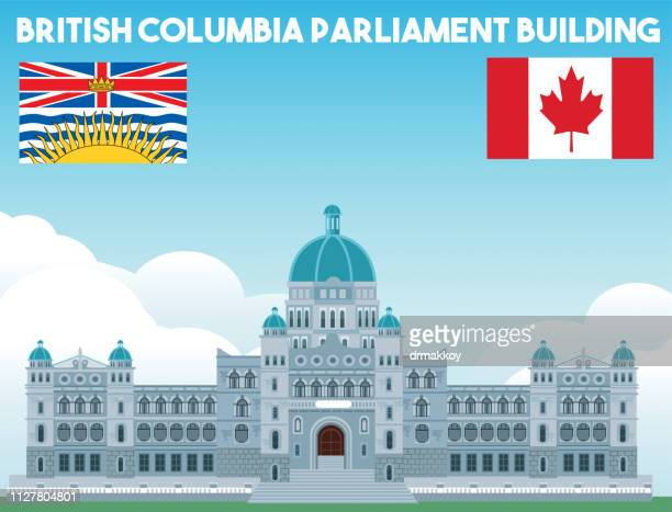 parliament building in victoria, british columbia - victoria canada stock illustrations
