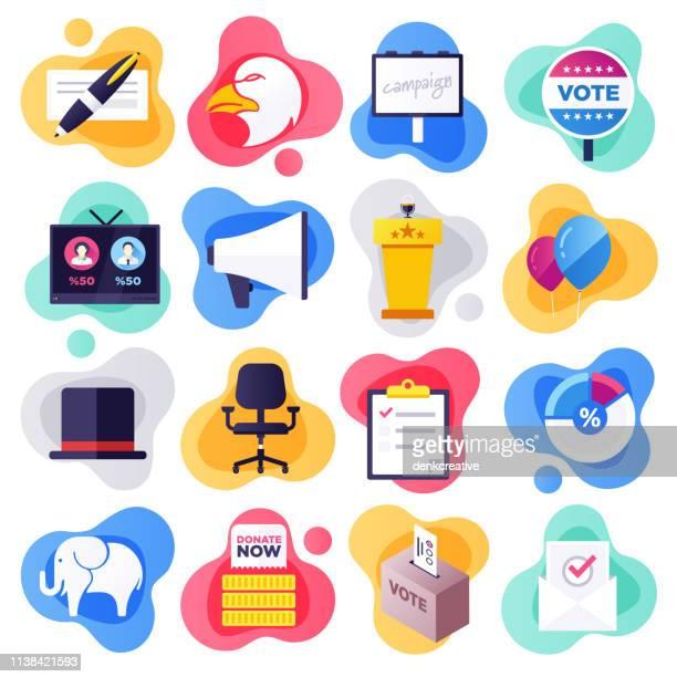 ilustrações de stock, clip art, desenhos animados e ícones de parliamentary election campaign flat liquid style vector icon set - cidadania