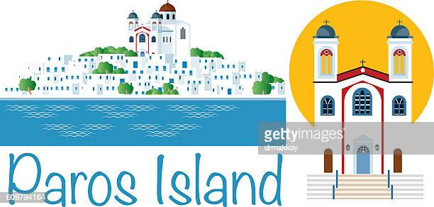 paros island - greek islands stock illustrations, clip art, cartoons, & icons