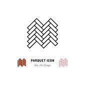 Parquet icon, Wooden floor symbol, Vector thin line art symbol