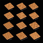 Parquetry sample set of wooden floor plates. Most popular wood flooring parquets with names - isolated 3D vector illustration on black background.