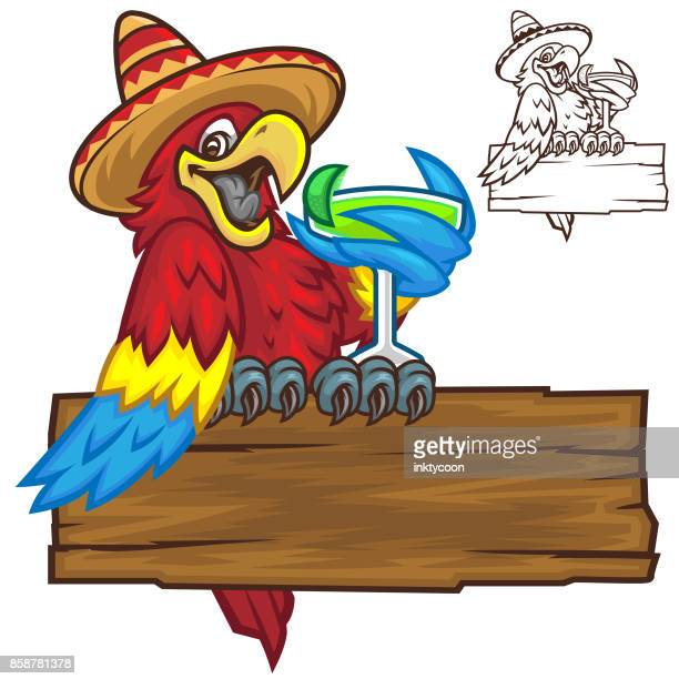 parrot party time pack - sombrero stock illustrations