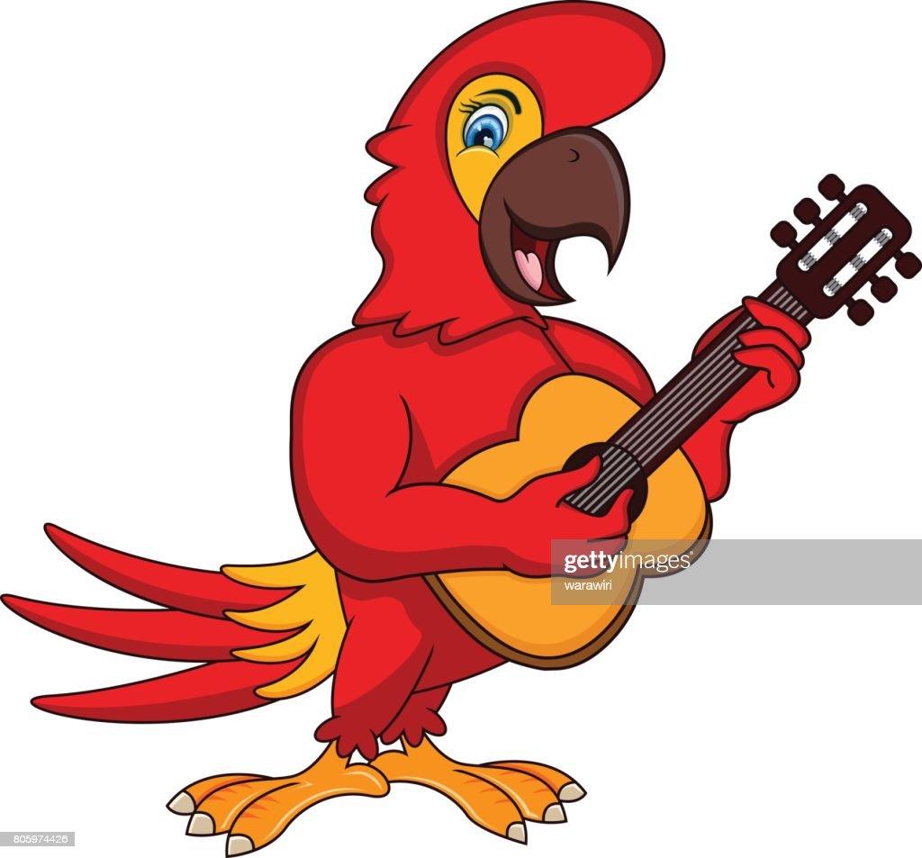 Parrot Playing Guitar Cartoon