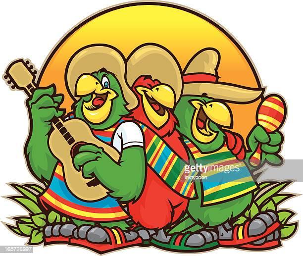 parrot trio - parrot stock illustrations, clip art, cartoons, & icons