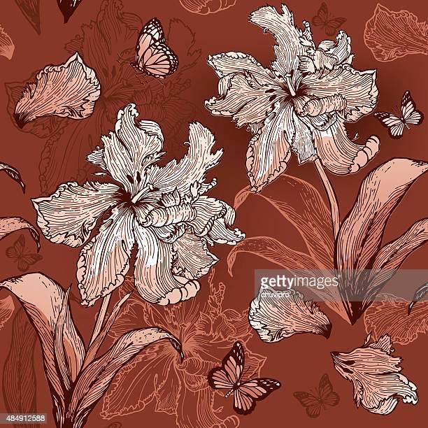 パロットのチューリップシームレスな花の背景にベージュとブラウンの色調