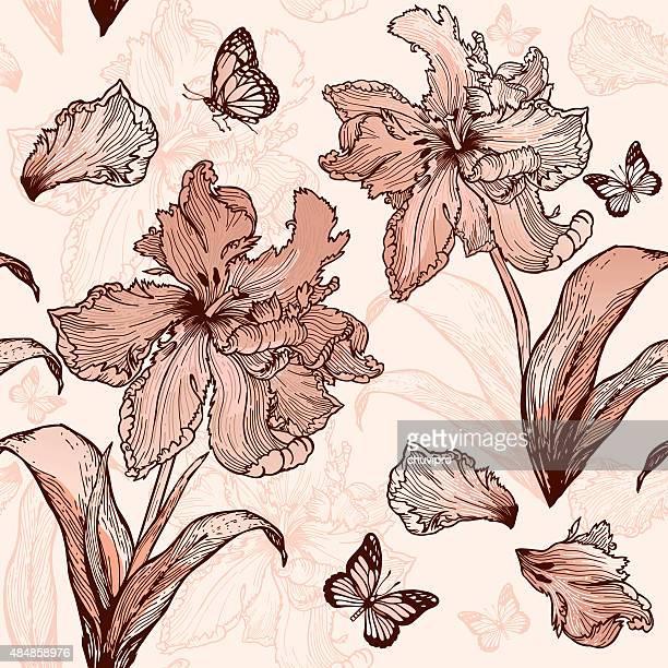 パロッツパーチのチューリップシームレスな花の背景にベージュ色