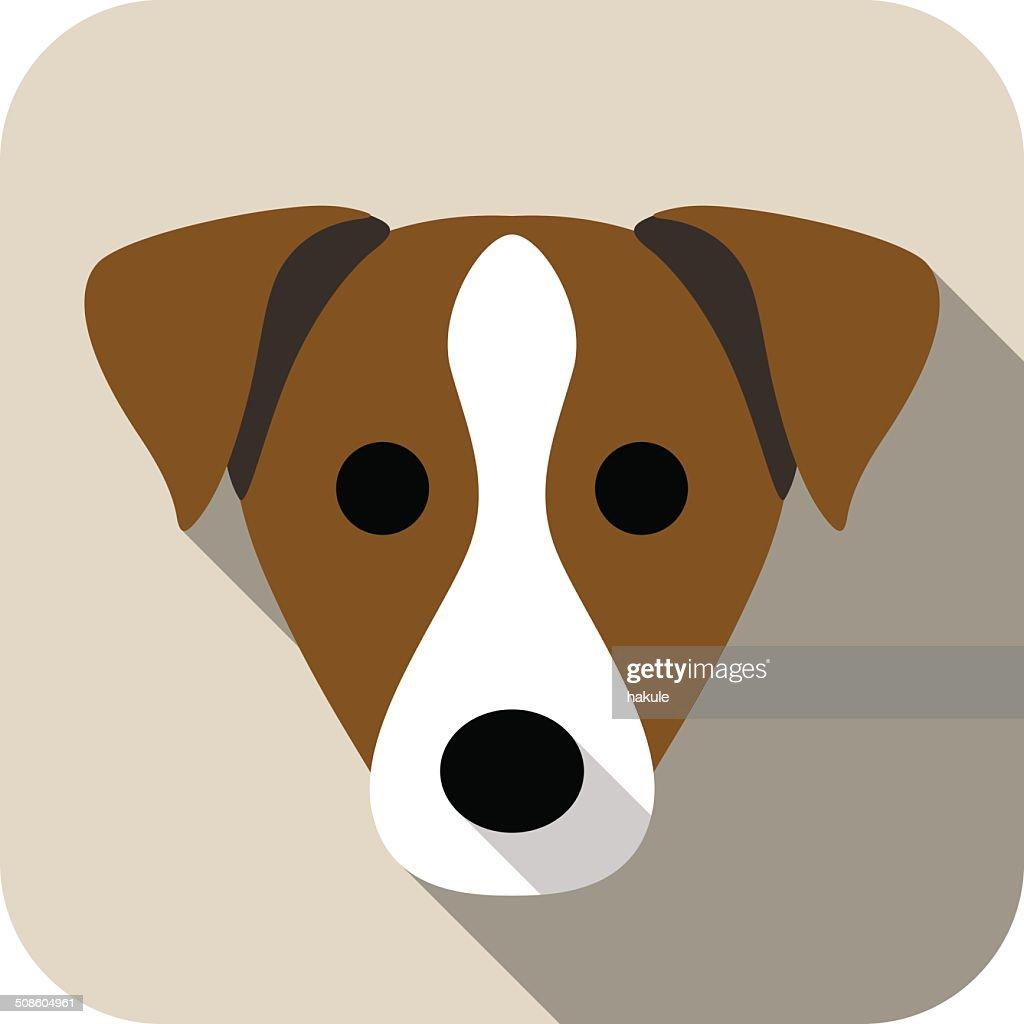 parson russell terrier perro iconos cara plana, serie : Arte vectorial