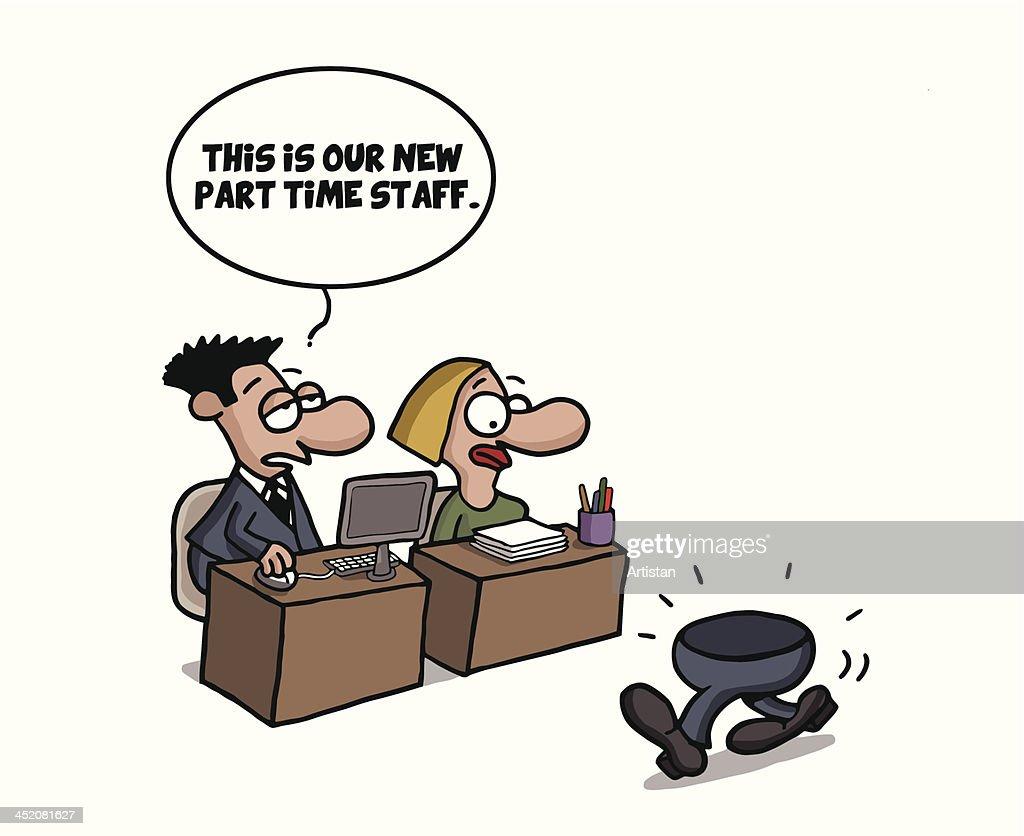 Part time worker cartoon joke