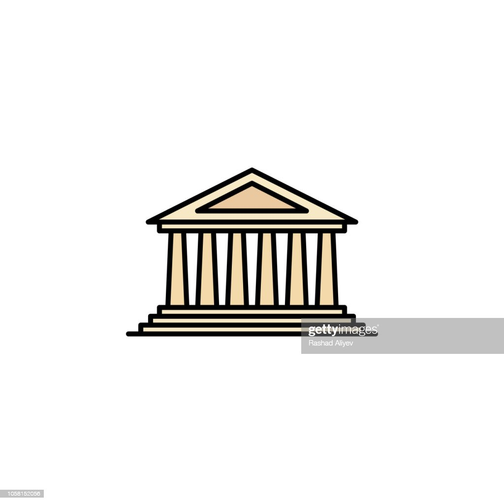 Parthenon icon. Element of color ancient greece  icon for mobile concept and web apps. Colored Parthenon icon can be used for web and mobile