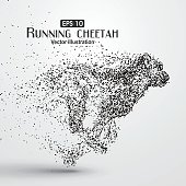 Particle cheetah ,vector illustration,The moral of hard work ahead.